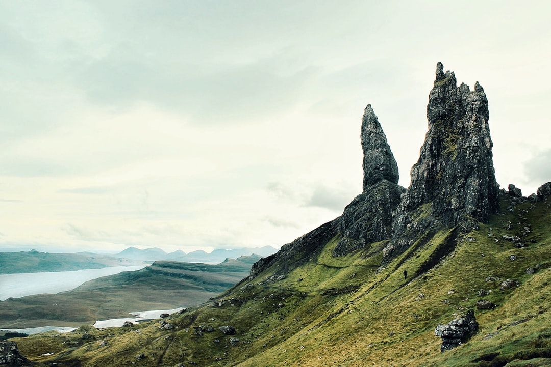 A view of a rocky mountain with The Storr in the background